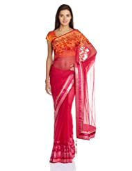 Satya Paul Net Saree With Blouse Piece - B00IMDMVOK