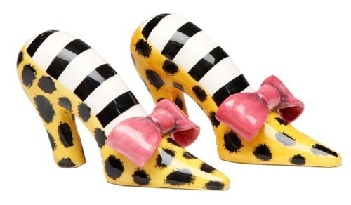 Appletree Design Leopard Print Heels With Pink Bow Salt And Pepper Set, 2-3/8-Inch