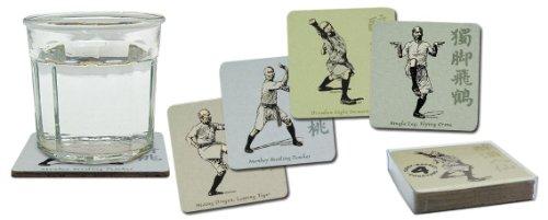 Kung Fu Tai Chi Martial Arts Cork-Backed Beverage Coasters