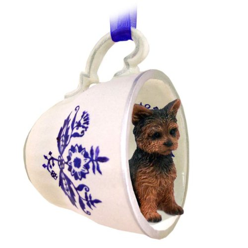 Amazon.com: Yorkshire Terrier Puppy Cut Tea Cup Blue Ornament ...