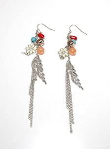 Silver Tone Beaded Dangling Earrings with Charms and Chains(in a Gift Pouch)