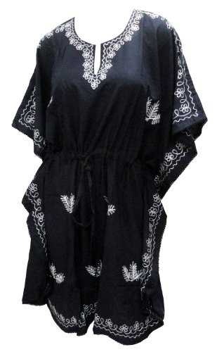 La Leela PV Cotton Black Chain Stitched Embroidered Beach Caftan Cover up