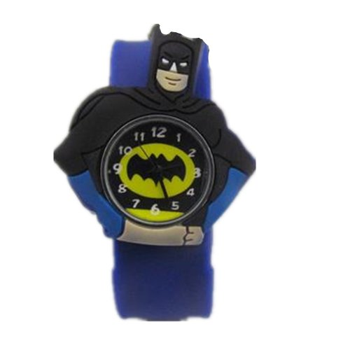 Cartoon 3D Watch Rubber Snap-On Slap Cuff Boys Girls Watches Birthday Gift (Blue)