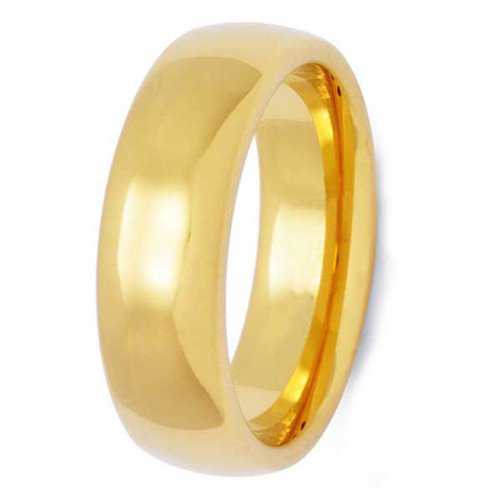 7MM High Polished Stainless Steel Gold Plated Wedding Band