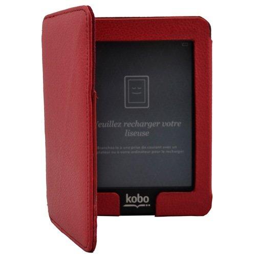 Rouge Magnétique Housse Étui en Cuir Coque Pour eReader eBook Kobo Mini