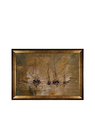 "Justyna Kopania ""Boats III"" Framed Canvas Print, Multi, 29″ x 41″"