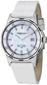 MomoDesign Pilot Diamonds Ladies White Leather Strap Watch MD093-E-02SL-LS