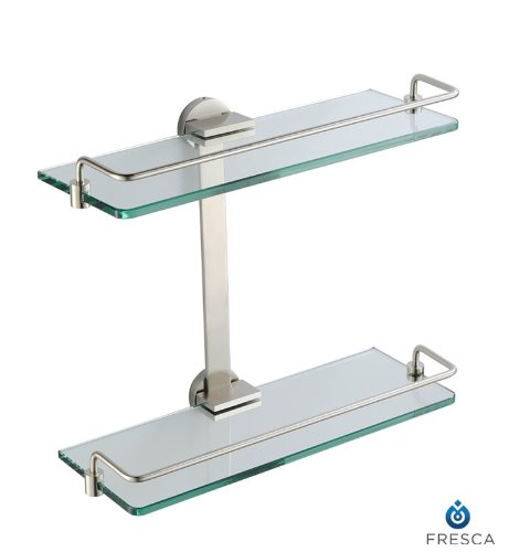 Glass Bathroom Shelves Brushed Nickel