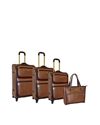 Adrienne Vittadini Croco 4-Pc Luggage Set, Brown