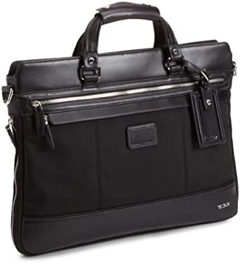 Tumi Luggage Bedford Jefferson Slim Briefcase With Shoulder Strap, Black, Medium