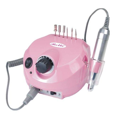 Belle Pink Electrique Ponceuse à Ongles Drill Manucure Pédicure Professionnel avec Vitesse Réglable via à Main/Pédale, pour Acryliques, Gels, ongles naturels