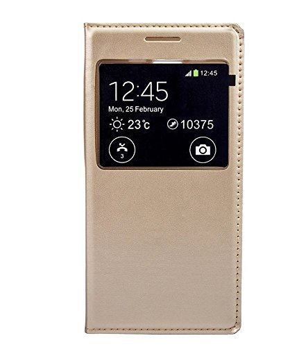 Dashmesh Shopping Premium GOLD LEATHER CALLER ID Flip Case Cover For Samsung Galaxy ON5 GOLD