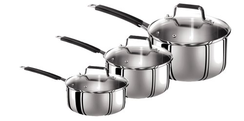 Tefal Jamie Oliver Stainless Steel 3 Piece Set, 16 cm / 18 cm / 20 cm Saucepans with Lids