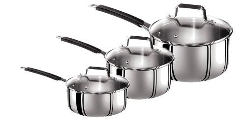Tefal Jamie Oliver Stainless Steel 3 Piece Saucepan Set