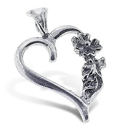 925 Sterling Silver Jewelry, Flower on a Heart Charm, Adjustable Fit: Free Stuff: Jewelry