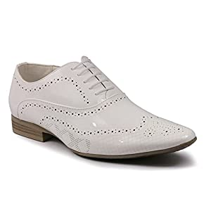 UV Signature UVS004 Men's White Patent Wing Tip Perforated Lace Up Oxford Dress Shoes (9.5)