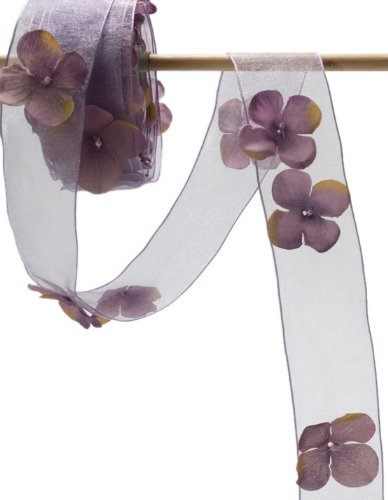 May Arts 1-1/2-Inch Wide Ribbon, Lavender Sheer Flowers