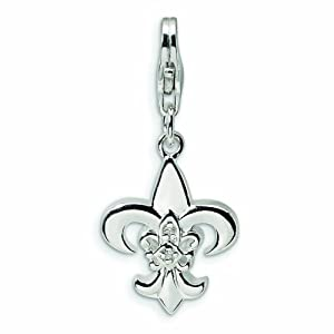 Sterling Silver CZ Polished Fleur de Lis with Lobster Clasp Charm