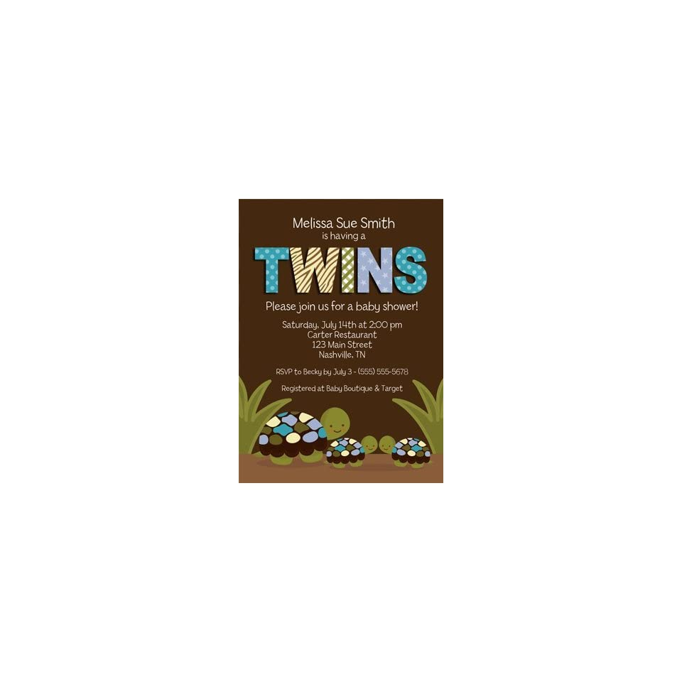 Turtle Twin Boys Baby Shower Invitations