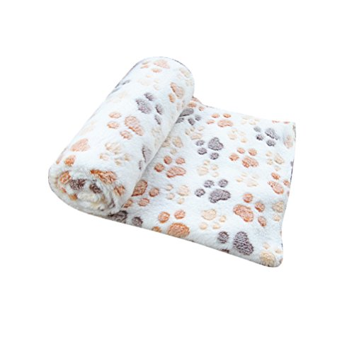 Sunlightam L 41″x30″ Ultra Soft Fleece Paw Print Pet Blanket Bed Kennel Cover Polyester Dog Puppy Cat Mat Tan
