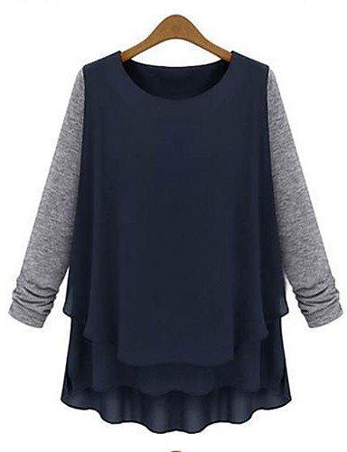 ZXR collare rotondo della camicia cuciture allentate delle donne , dark blue-3xl , dark blue-3xl