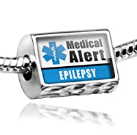 "Neonblond Beads Medical Alert Blue ""Epilepsy"" - Fits Pandora Charm Bracelet from NEONBLOND Jewelry & Accessories"