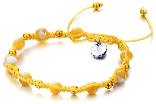 Shimla SH 913 Mother of Pearl TS Bracelet Gold Plated Brass Beads and Stainless Steel Tag