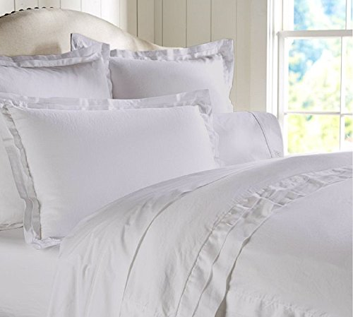 """Egyptian Cotton Luxurious Fitted Sheet With 15"""" Deep Pocket 500 TC Solid By Amrich Bedding ( Full XL , White )..."""