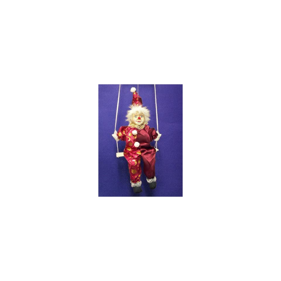PORCELAIN Collectible Clown Doll on Swing Gold Celestial on