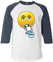 Shop4Everreg Emoji Smoking Bong Baseball Shirt Emoji Raglan Shirt