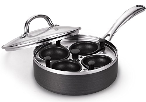 Cooks Standard 02421 8-Inch Nonstick Stainless Steel Hard Anodize Egg Poacher with Glass Lid, 4 Cup