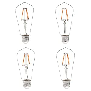 HERO-LED ST18 E26/E27 Medium Screw Base Edison Style LED Vintage Antique Filament Bulb, Squirrel Cage Nostalgic Tungsten Filament Replacement Incandescent Bulbs, Vintage Nostalgic Reproduction, For Use in Bistro Lights, Large Tents, Decorative Wedding Lig