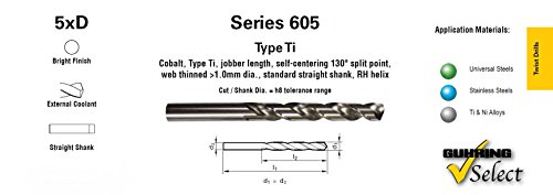 Guhring 9006050011800, Series 605 Cobalt Jobber Drill, 5xD, External Coolant, 130 Deg Split Point, Bright Finish, Number 56 (Pack of 10) coupons 2016