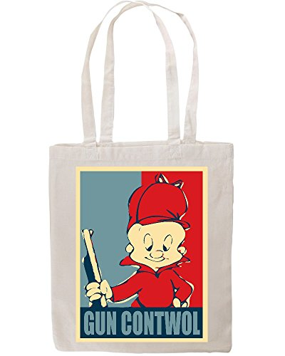 elmer-fudd-gun-contwol-poster-funny-tote-shopping-bag