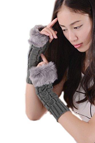 YACUN Frauen Kunstfell fingerlose Arm wärmer Grey 06Grey_Free Size