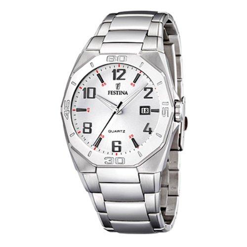 Festina F16504/2 - Reloj analógico de cuarzo para hombre con correa de acero inoxidable, color plateado