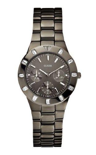 Guess Glisten Multifunktion W0027L1 - Reloj analógico de cuarzo para mujer, correa de acero inoxidable chapado color gris