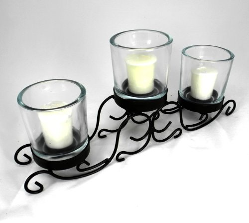 Vintage Glass & Wrought Iron Holiday Centerpiece 3 Candle Holder ~ G107 Elegant Wrought Iron Scroll Triple Candle Decorative Candle Holder Centerpiece