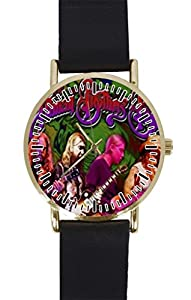 THE ALLMAN BROTHERS Band Custom Design Gold Dial and Black Leather Band Quartz Movement Watch By-Ccilu