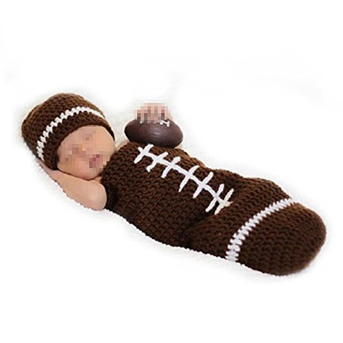 Elee Infant Football Crochet Knit Photography Prop Costume Hat Sleeping Bag