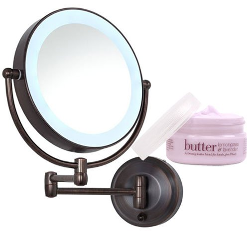 Zadro Oil Rubbed Bronze LEDW810 LED Lighted Wall Mount Mirror and Cuccio Lemongrass & Lavender Body Butter