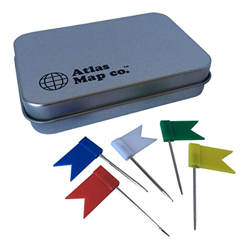Atlas Map Co. - 60 Pack Flag Push Pins / Map Pins (5 assorted colors) - Includes re-closable tin for easy access & storage (World Flag Pins compare prices)