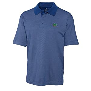 NCAA Mens Florida Gators Tour Blue Drytec Resolute Polo Tee by Cutter & Buck