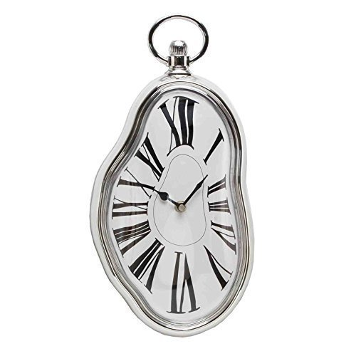 ukgiftstoreonline Silver Melting Wall Clock Gift 38Cm Surrealist Salvador Dali Style