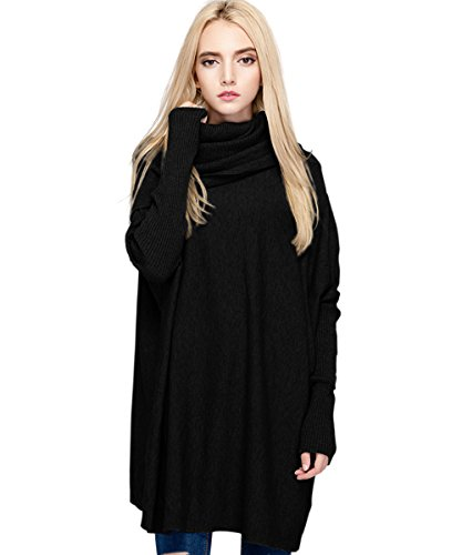 MML Womens Cowl Neck Long Sleeve Loose Knit Top Cable Pullover Sweaters (One Size, Black)