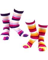 Toasty Toes Toe Socks - 2 Pack - Marshmallow & Sunset Stripes