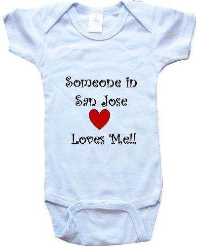 Someone In San Jose Loves Me - San Jose Baby - City Series - Blue Baby One Piece Bodysuit / Baby T-Shirt - Size Large (18-24M) front-28219