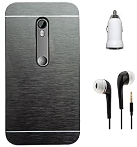 Tidel Black Durable Aluminium Brushed Metallic Back Cover For Motorola Moto X Play With 3.5mm Handsfree Earphone & Car Charger Adapter