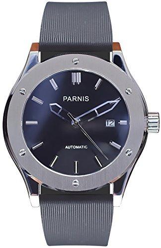 PARNIS Automatikuhr Modell 2044 Herrenuhr Ø 44mm Edelstahlgehäuse Saphirglas 5BAR wasserdicht Kautschuk-Armband Automatik-Uhrwerk