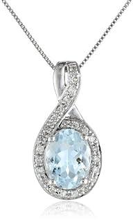 14k White Gold Aquamarine and Diamond…